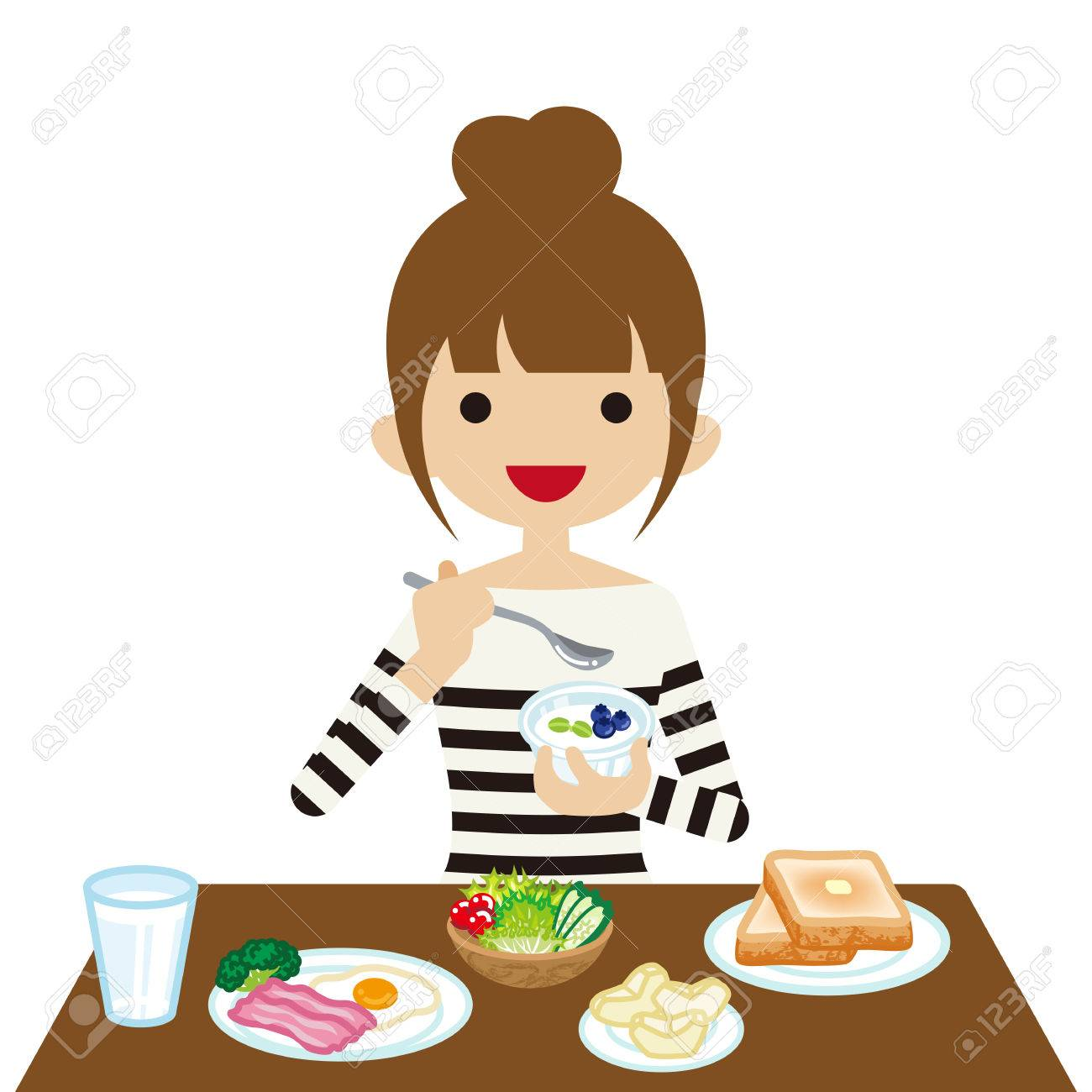 young woman eating breakfast royalty free cliparts vectors and rh 123rf com kid eating breakfast clipart boy eating breakfast clipart