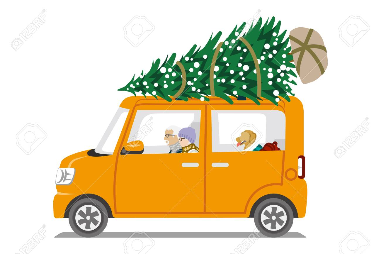 Car Loading Christmas Tree On The Roof Side View Senior Couple Royalty Free Cliparts Vectors And Stock Illustration Image 90066595