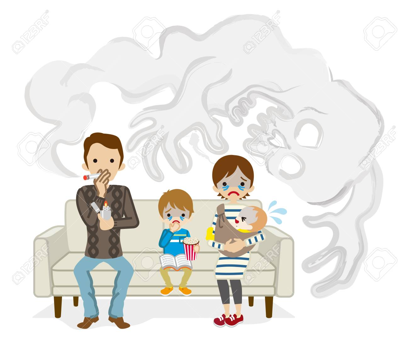 Secondhand smoke issue - Cartoon Family - 93466154