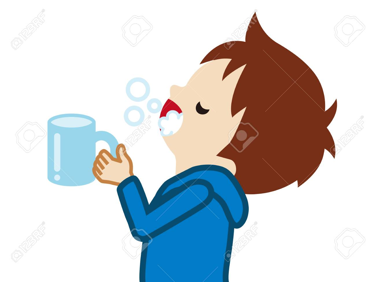 Toddler boy gargling with water for prevent cold - 117371481