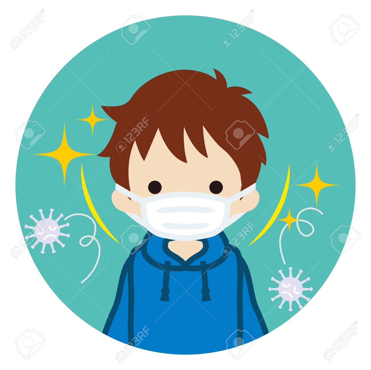 Toddler boy wearing a mask for prevent flu virus - front view, Circular icon - 117371498