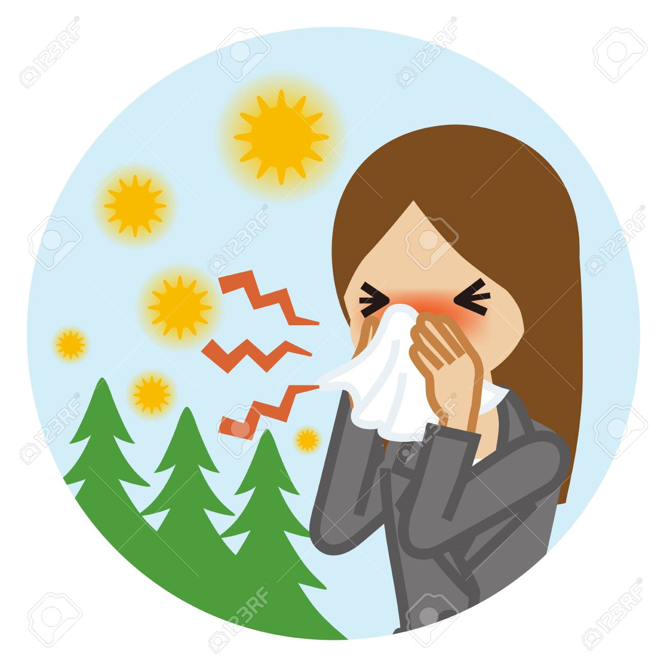 Businesswoman blowing nose with a tissue - Hay fever concept art - 124996673