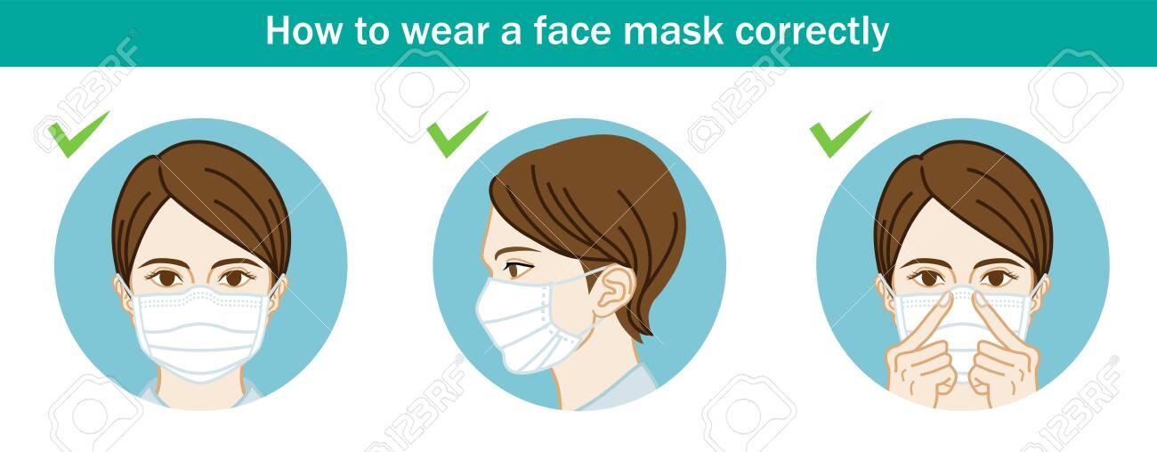Woman wearing a face mask correctly - Three circular clip art - 146301723