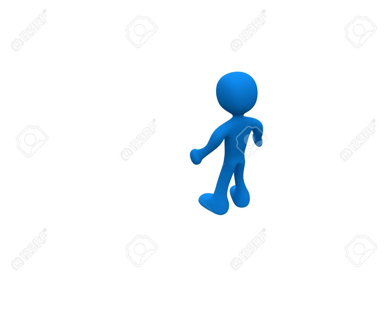 Three-dimensional cartoon blue, standing alone amid a white background. Stock Photo - 11296513