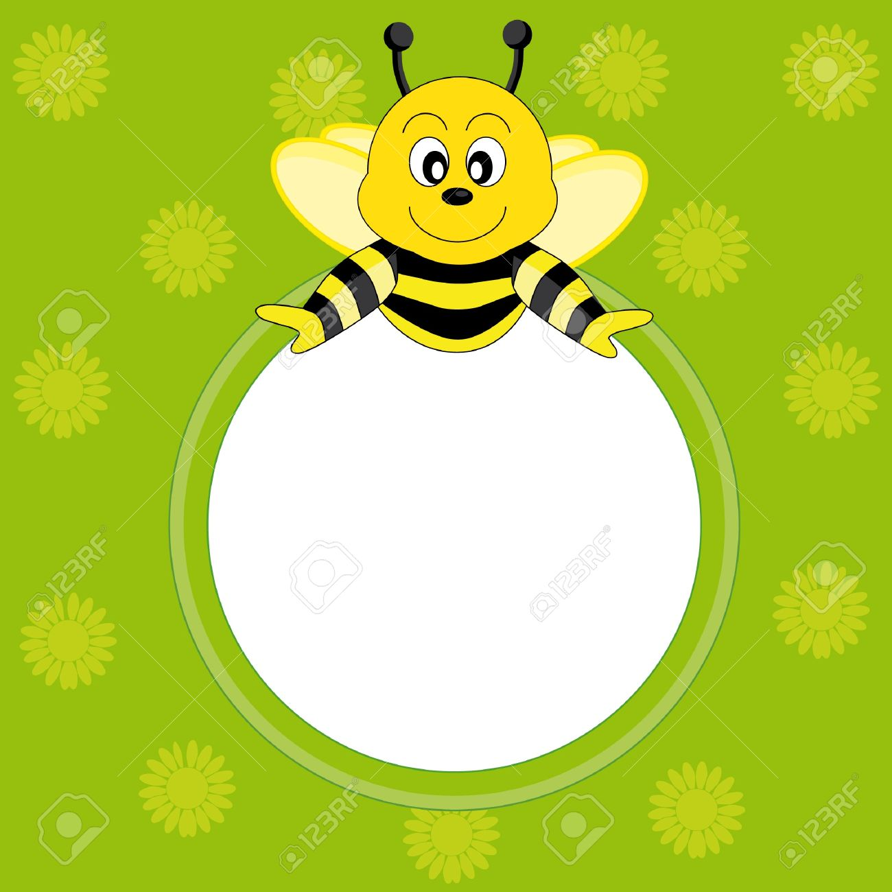 Postcard child with a bee. Picture frame or text Stock Vector - 9198612