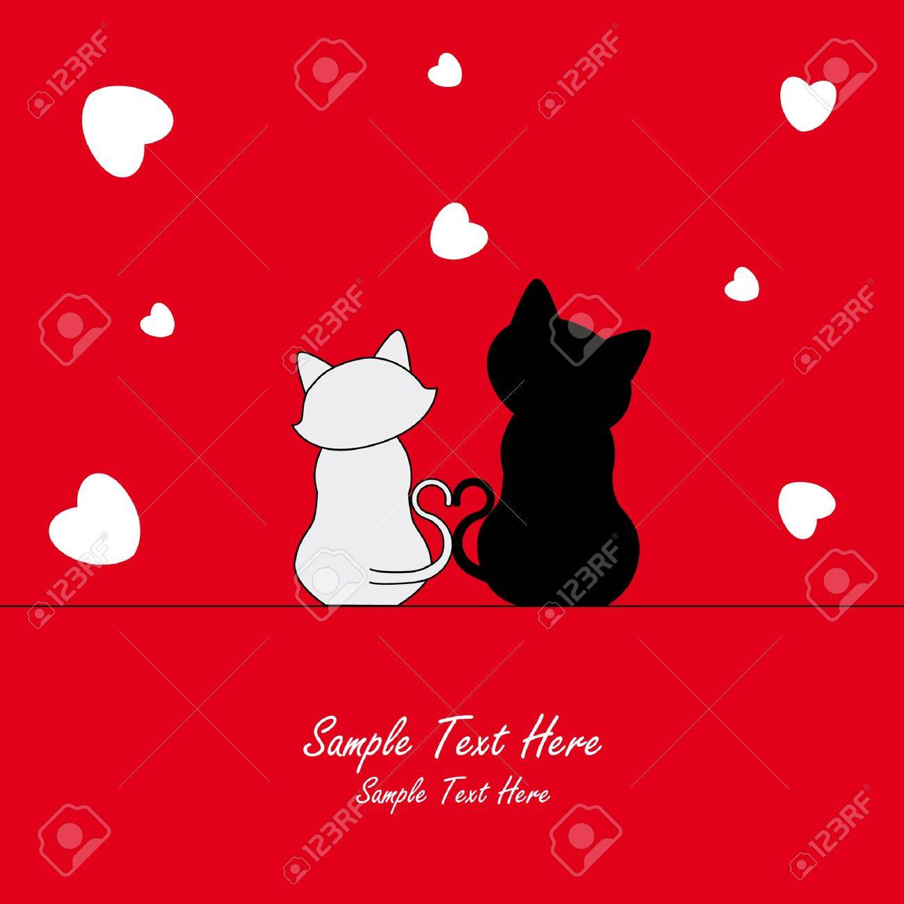 Love Card. Two cats in love Stock Vector - 9198593