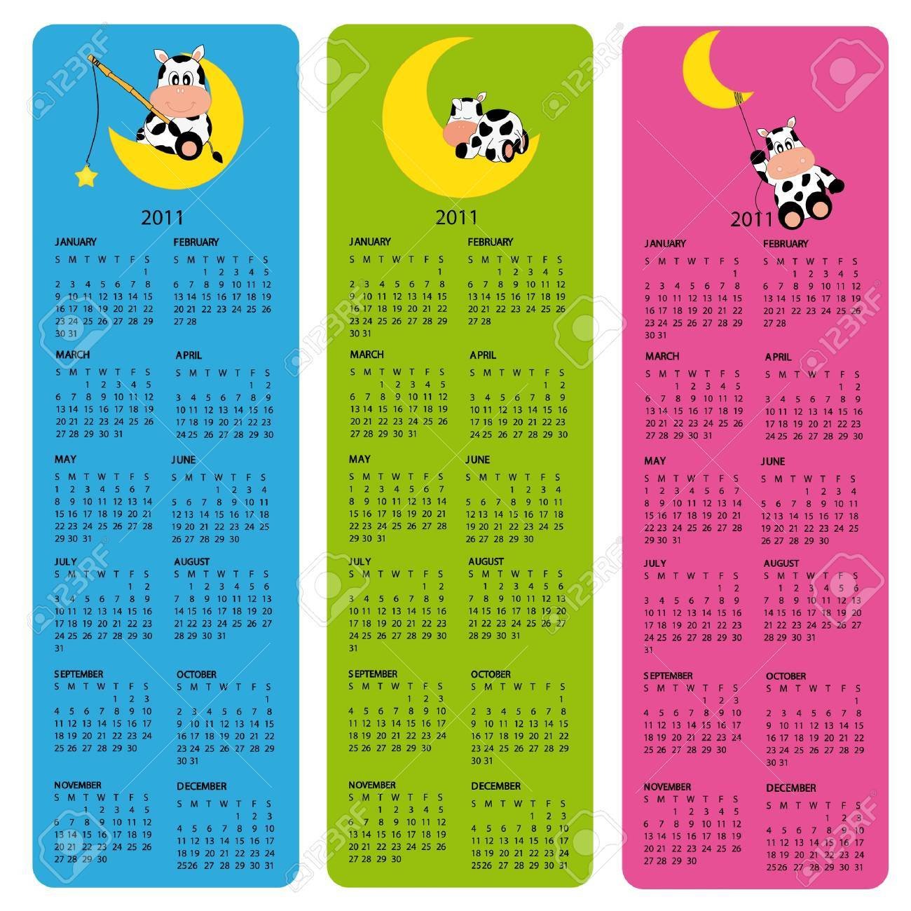 Children S Calendar 2011 Calendars Blue Green And Pink Royalty