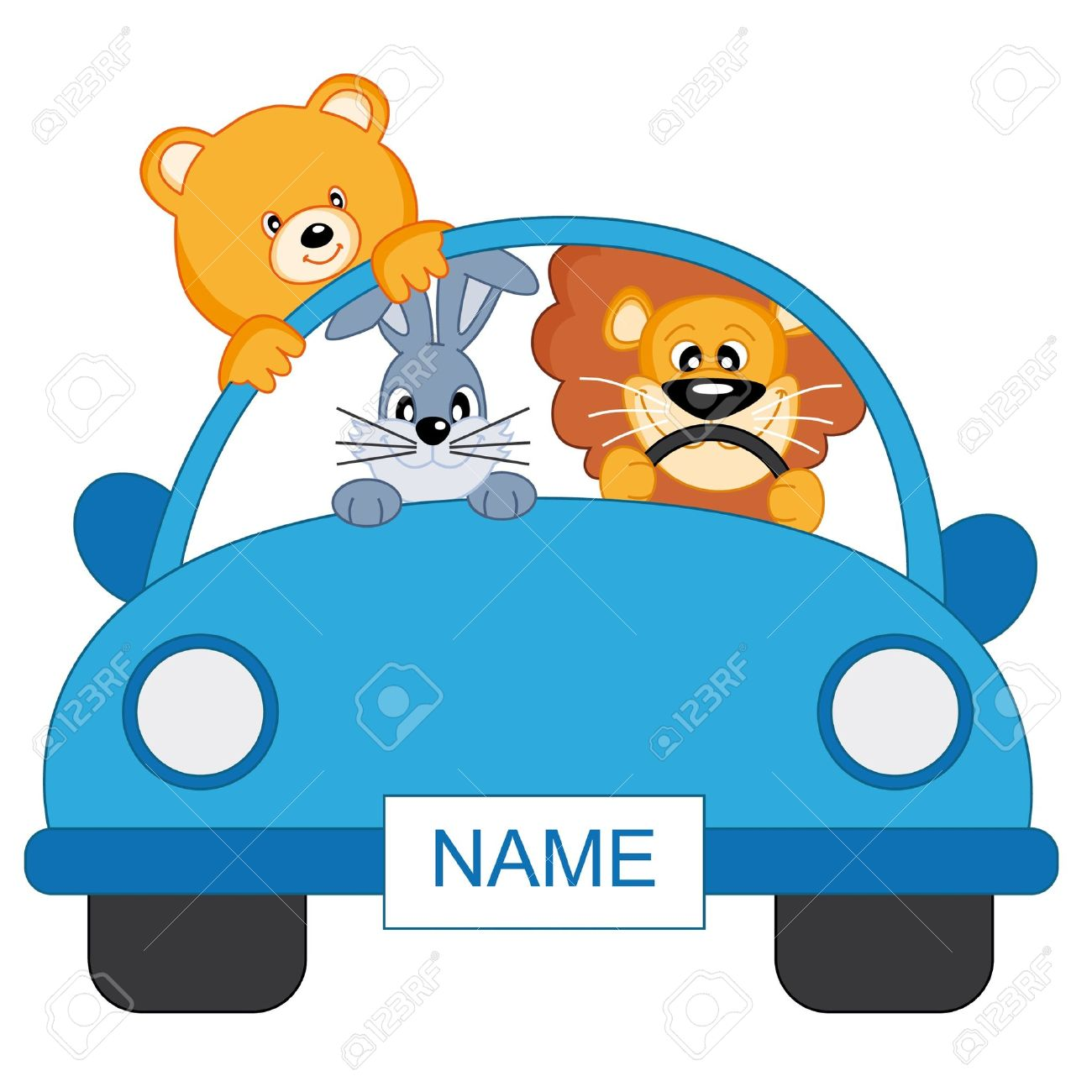 Baby boy arrival announcement. animals in a blue car - 9243067
