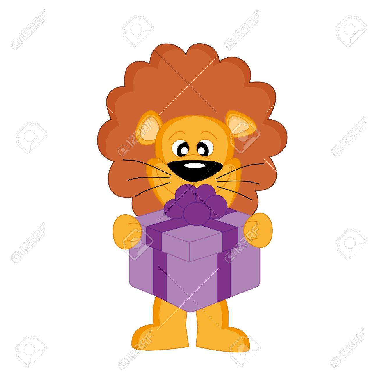 Lion with a gift Stock Vector - 9353182