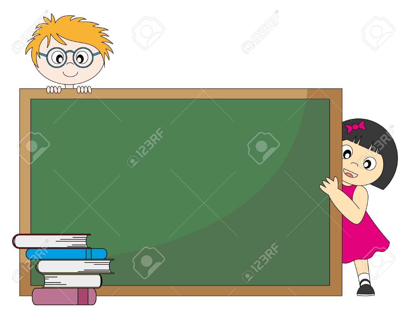 Back to school. Students around a blackboard. Stock Vector - 9382088