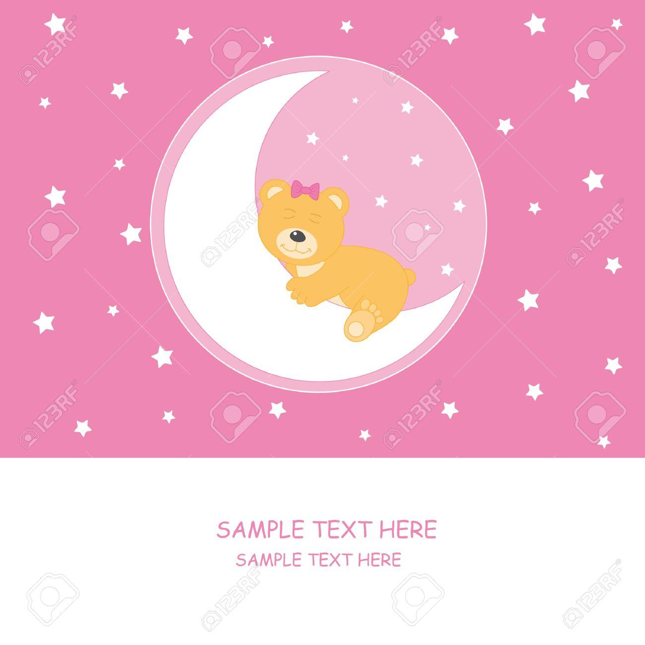 Bear sleeping on the moon. Baby girl arrival announcement card Stock Vector - 9382096