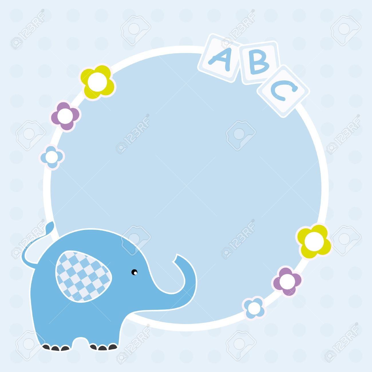 baby boy arrival announcement space for text or photo frame elephant stock vector - Elephant Picture Frame