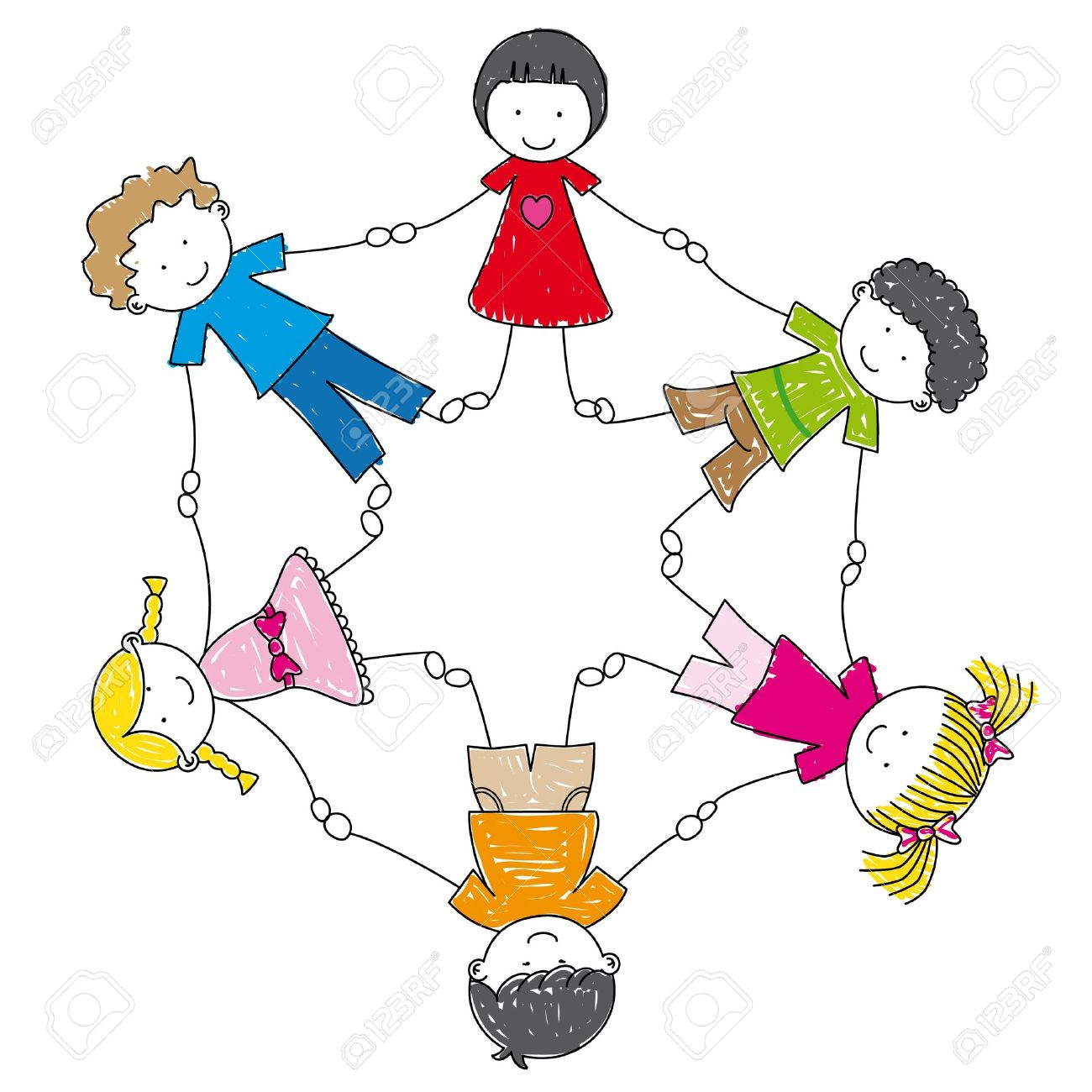 illustration children holding hands in a circle Stock Vector - 10467970