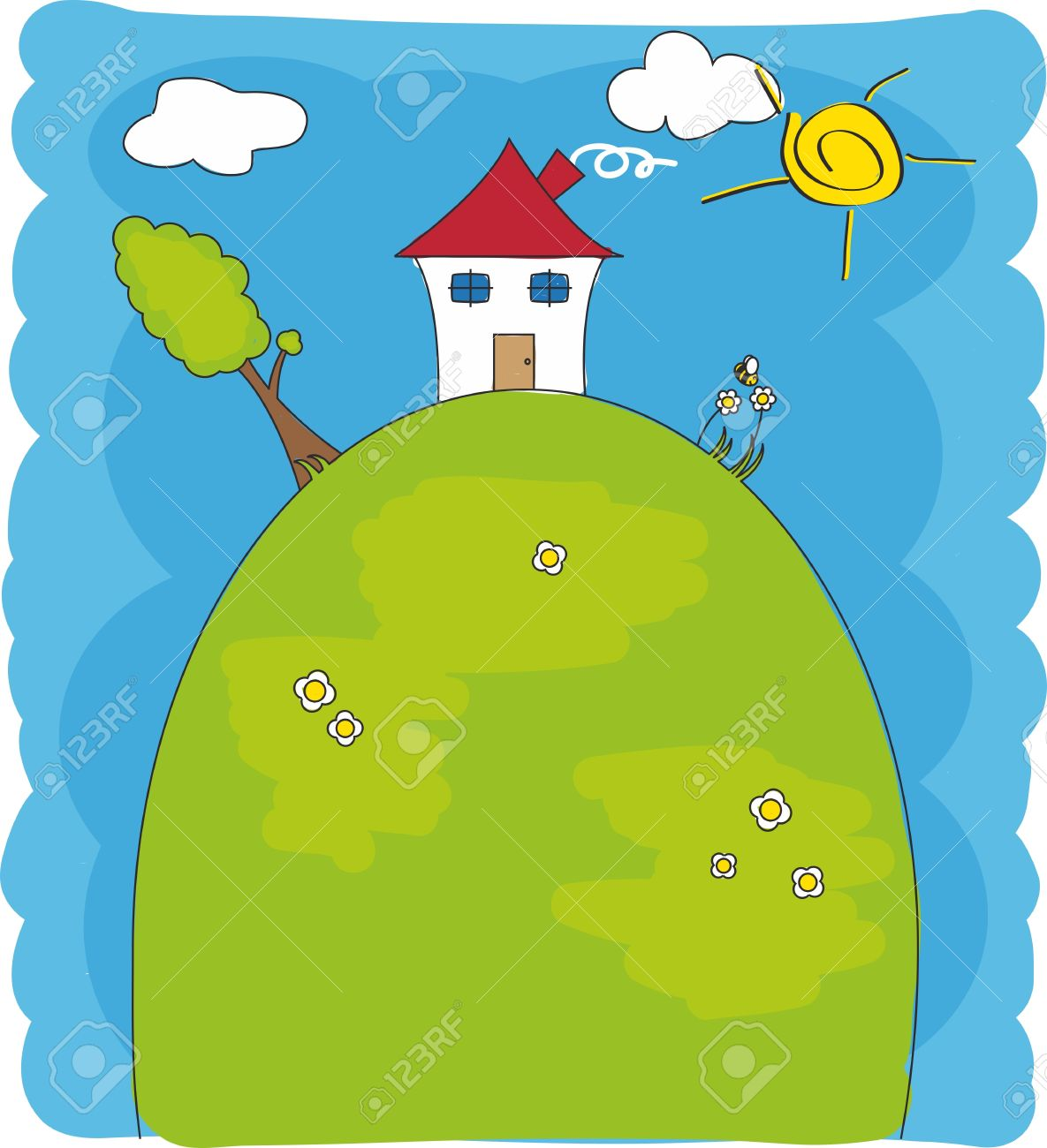 Children drawing. House on of a mountain Stock Vector - 10749095
