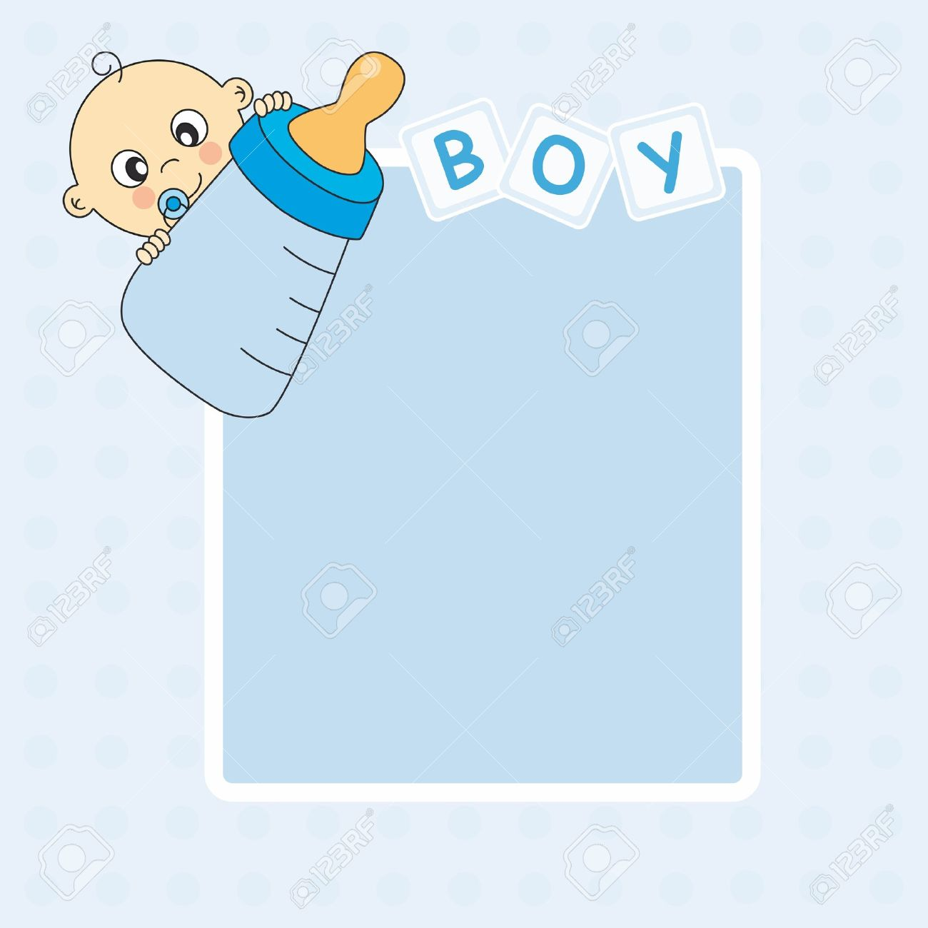 Baby Boy Arrival Announcement Card. Picture Frame Or Text Royalty ...