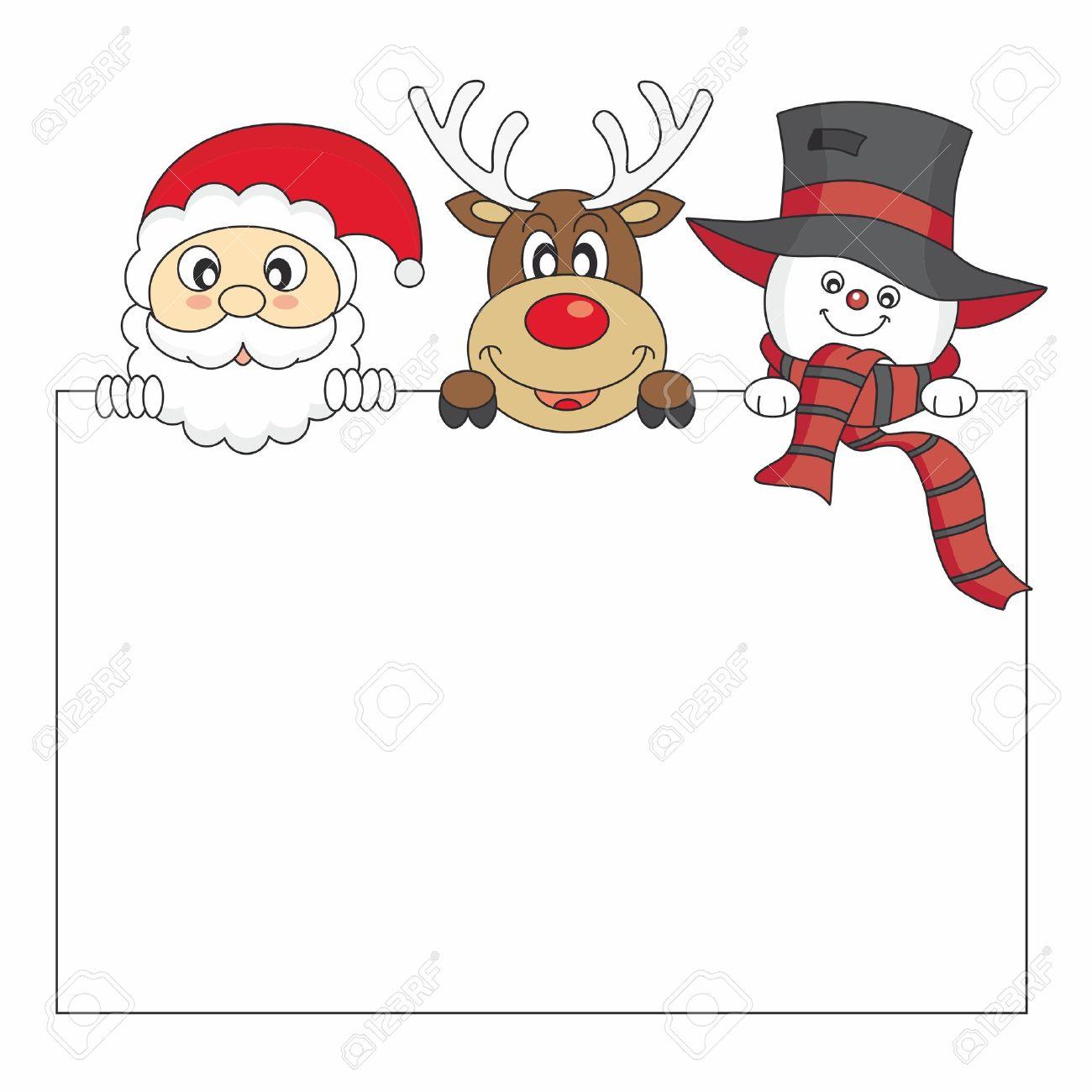 tarjeta de navidad divertida santa claus los renos y mueco de nieve sosteniendo un