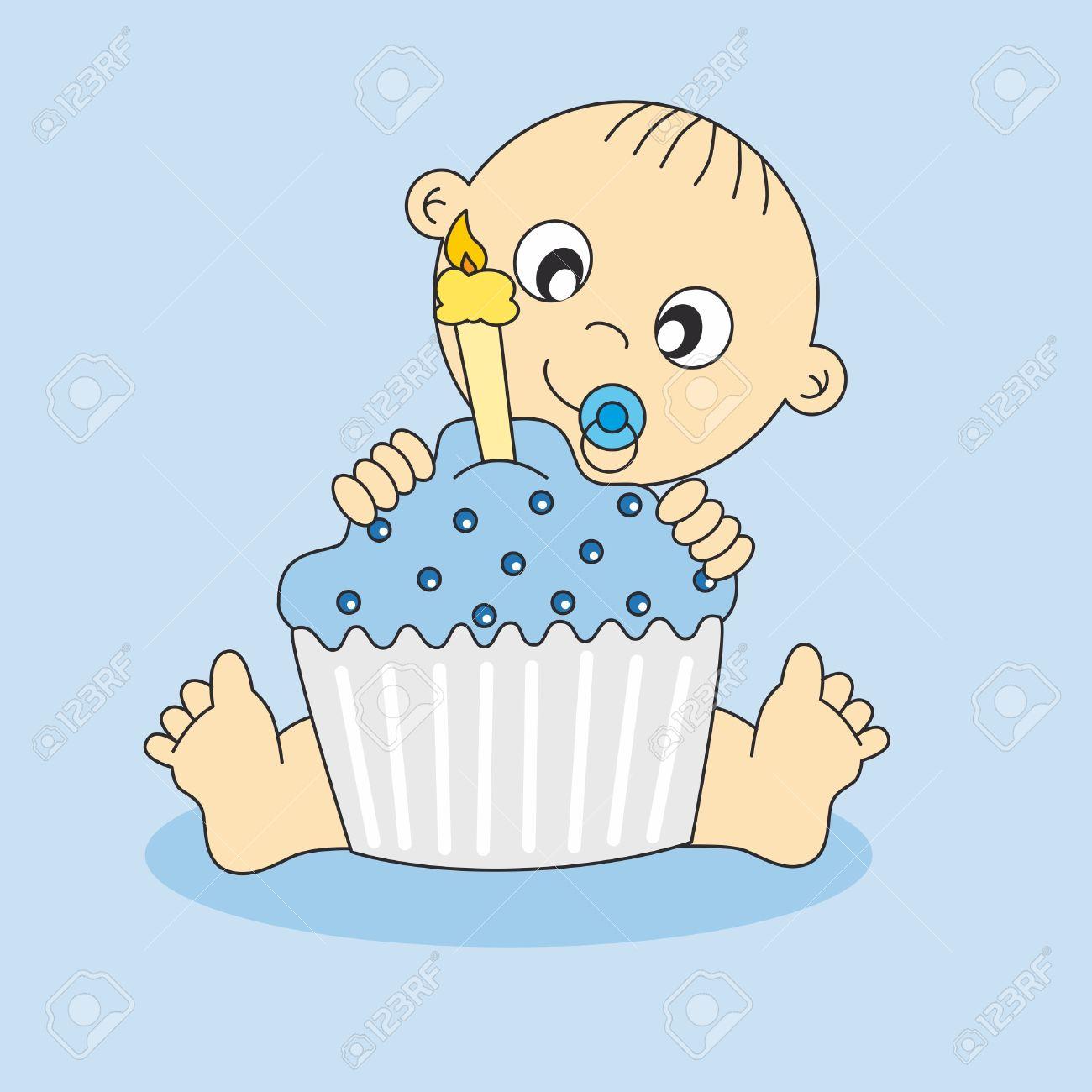 Tarjeta De Baby Boy Con Un Pastel De Cumpleaños. Primer Cumpleaños ...