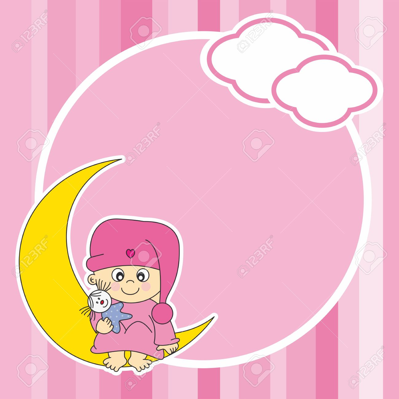 Setting baby girl sitting on the moon. Frame Stock Vector - 12352596
