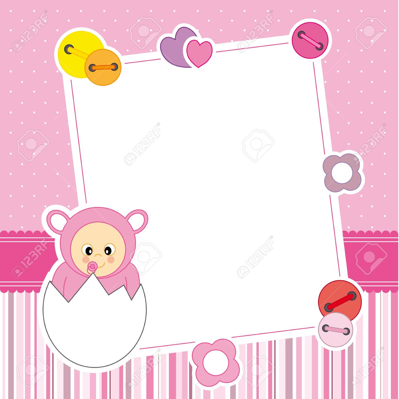 Baby Girl Arrival Announcement Card Frame Royalty Free Cliparts ...
