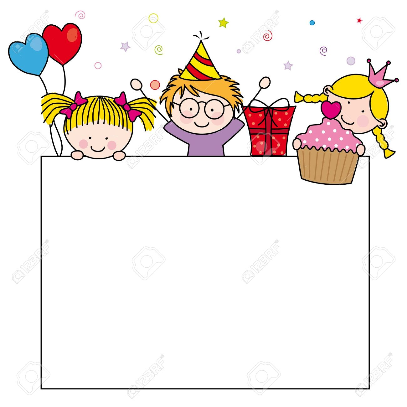 Cute Cartoon Kids Frame Celebrating Birthday Party Royalty Free