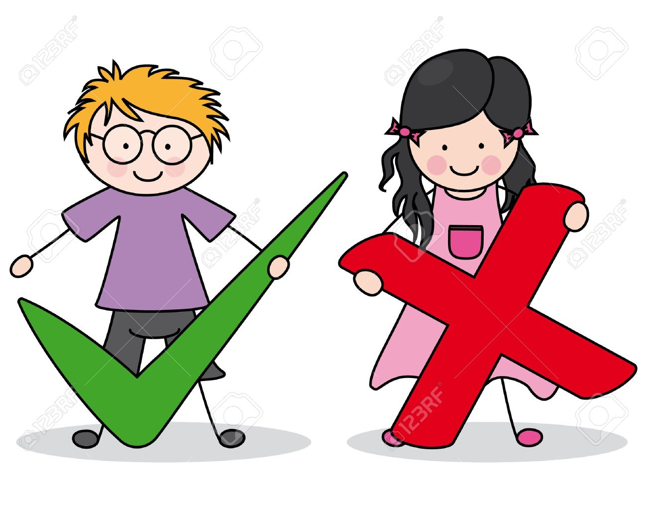 children with right and wrong signs Stock Vector - 15098169