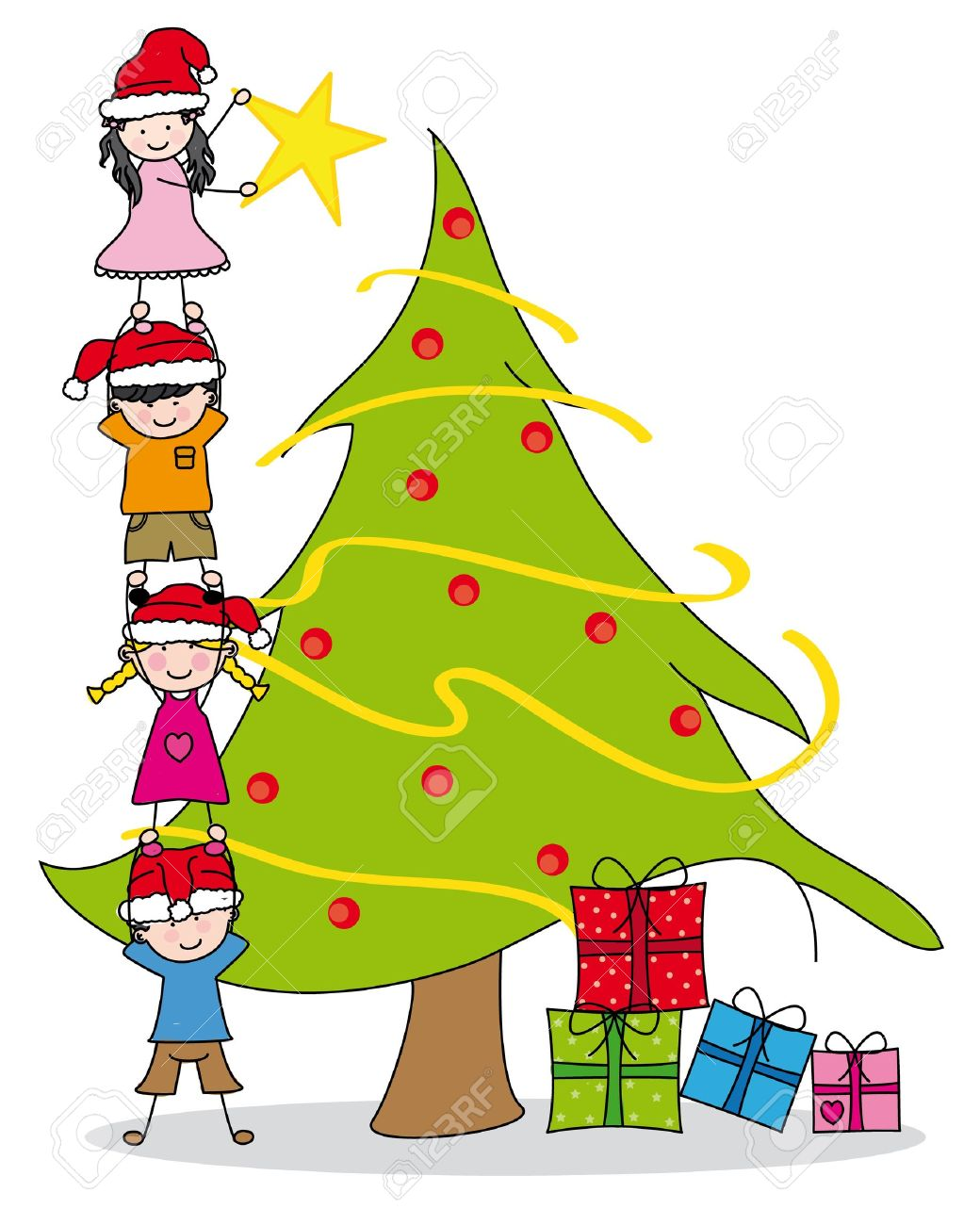 children decorating a christmas tree royalty free cliparts