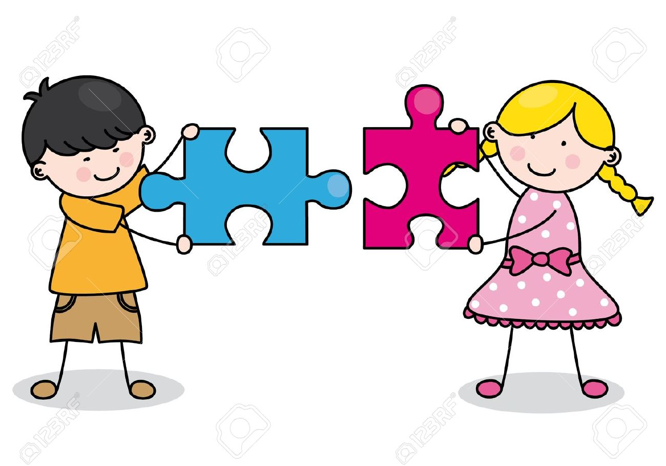 Child with puzzle pieces Stock Vector - 15300362