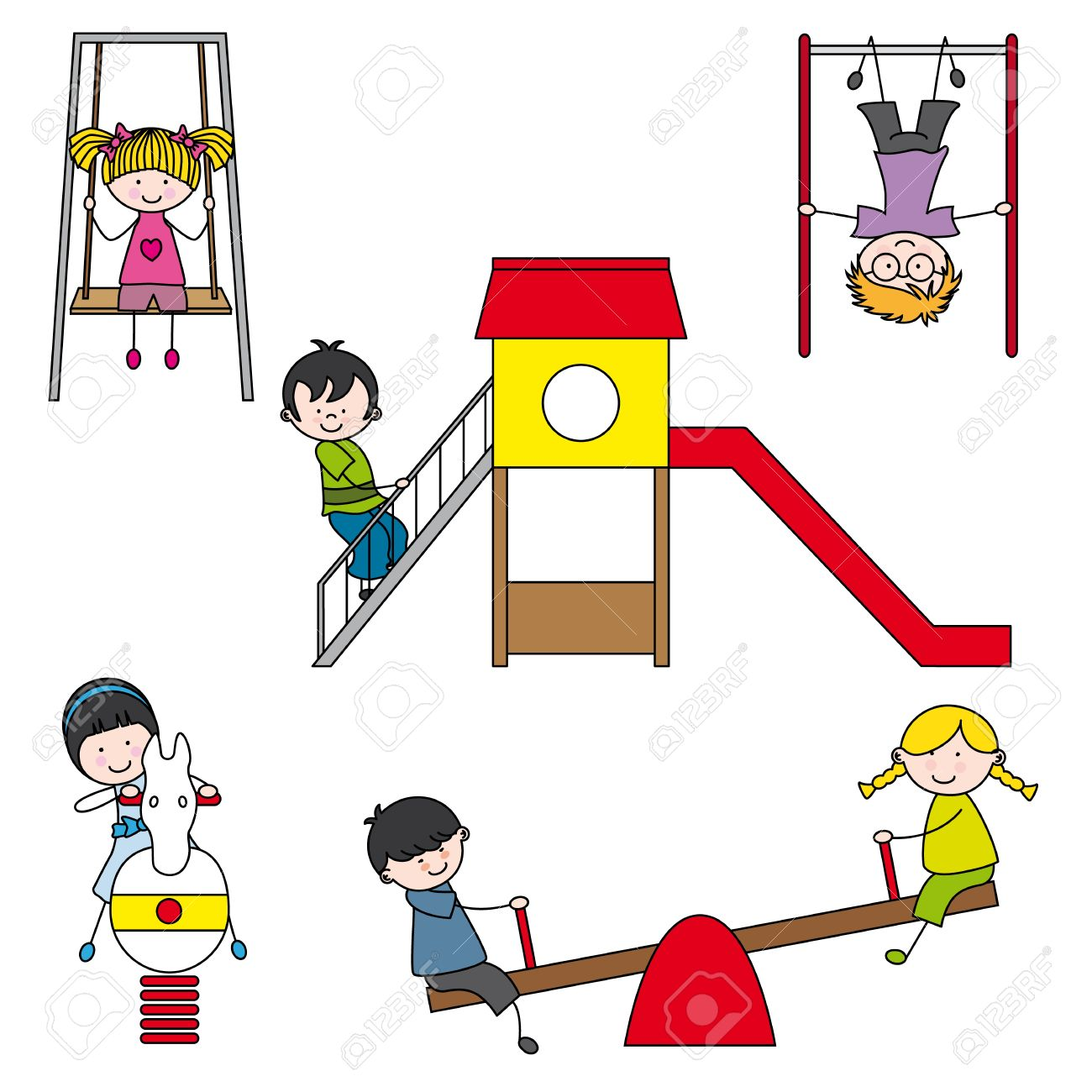 Illustration of kids playing at the park Stock Vector - 15731429