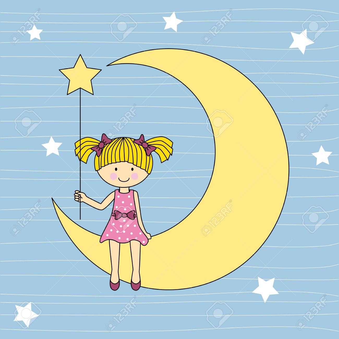 girl sitting on the moon Stock Vector - 15955895
