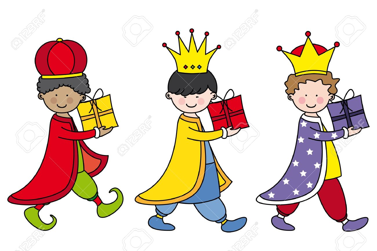 Children dressed as the three kings bearing gifts Stock Vector - 16489611