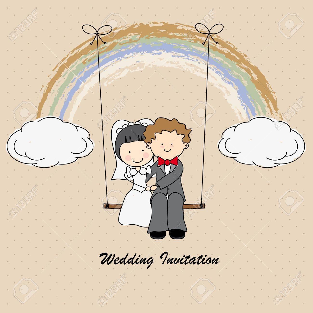 Boyfriends Swinging On A Rainbow Wedding Invitation Royalty Free ...