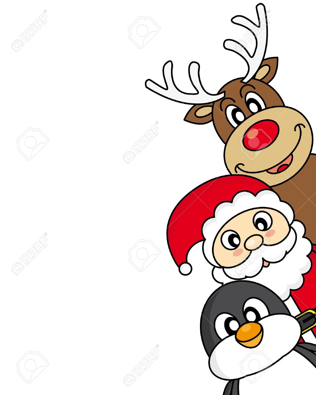 vector xmas illustration of santa claus, reindeer and penguin Stock Vector - 20330041