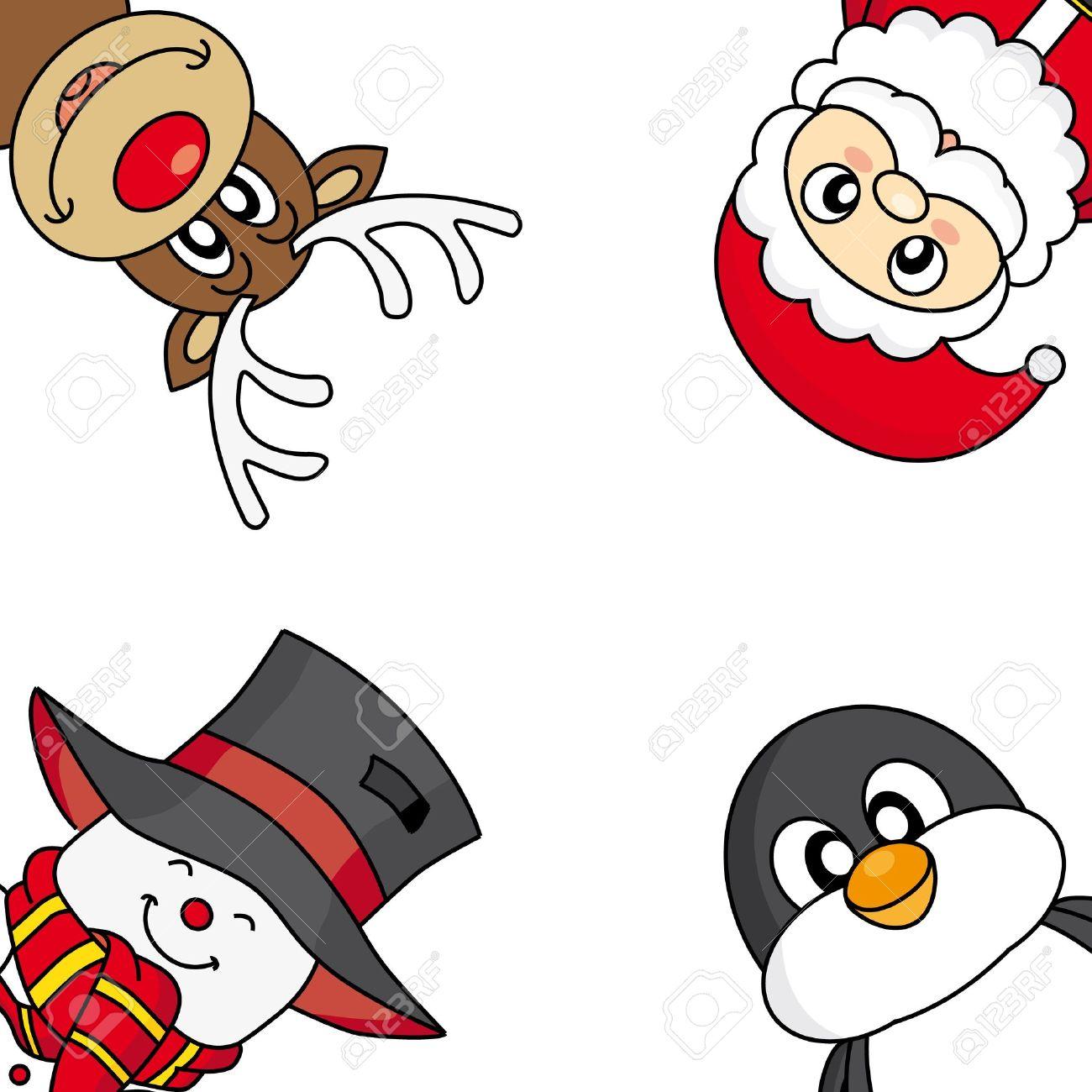 christmas card snowman reindeer penguin and santa royalty free