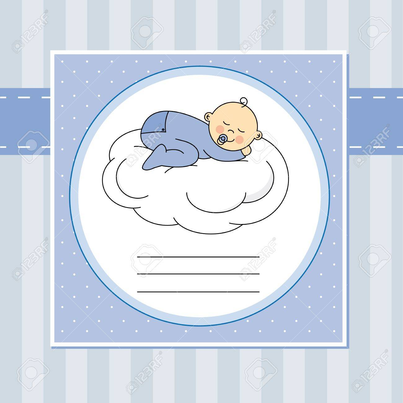 Baby boy arrival announcement card baby sleeping on the moon Stock Vector - 20482251