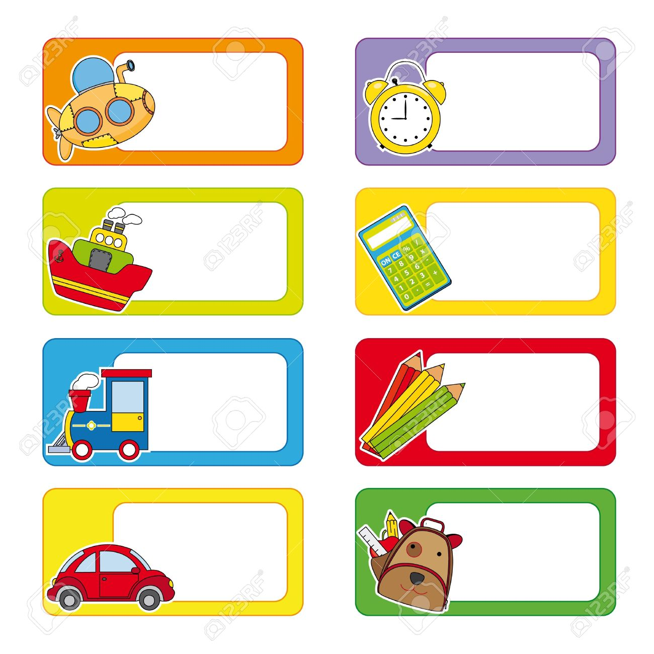 school labels stickers transport and objects for school royalty free