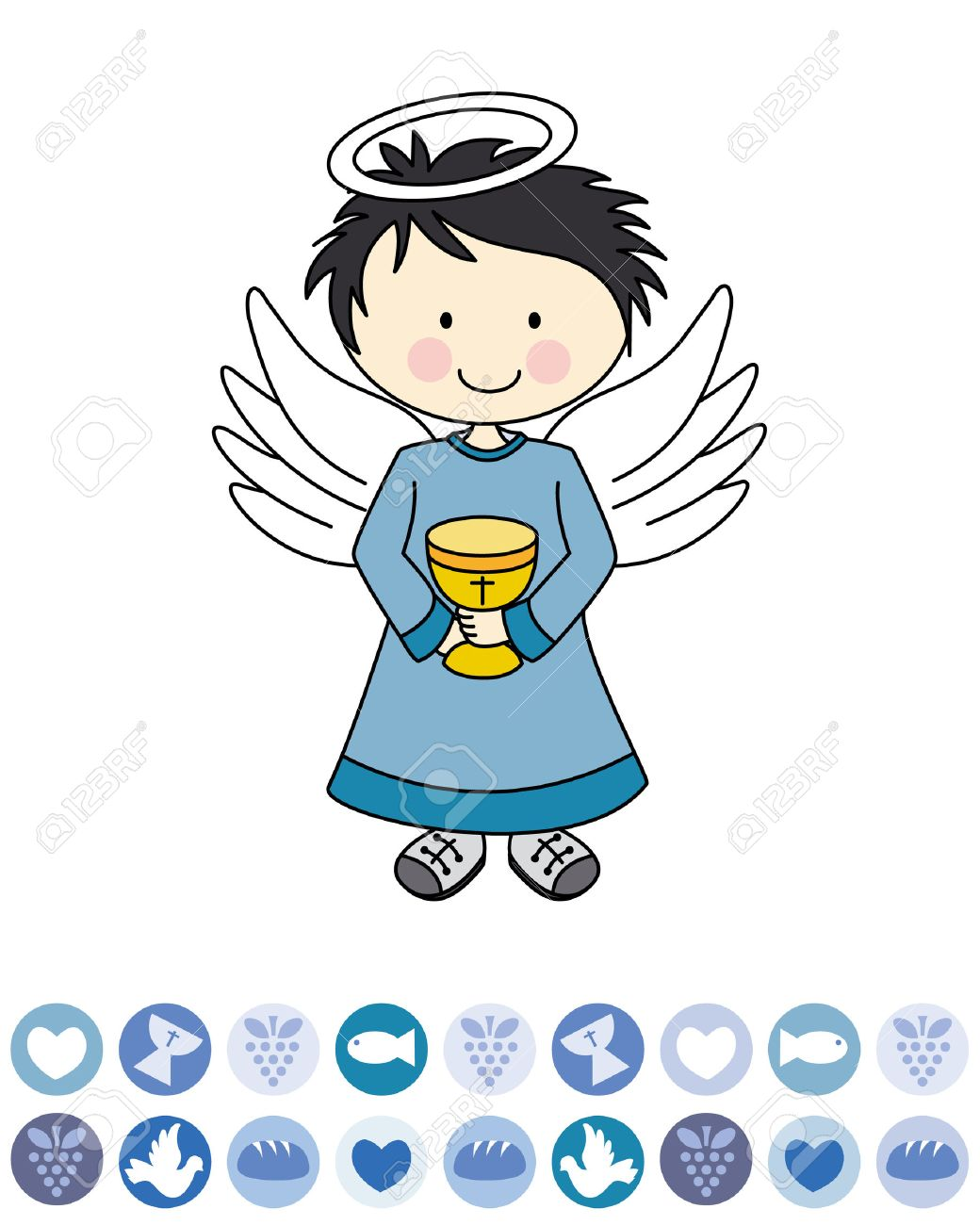 Boy first communion  Angel with a chalice Stock Vector - 22552578