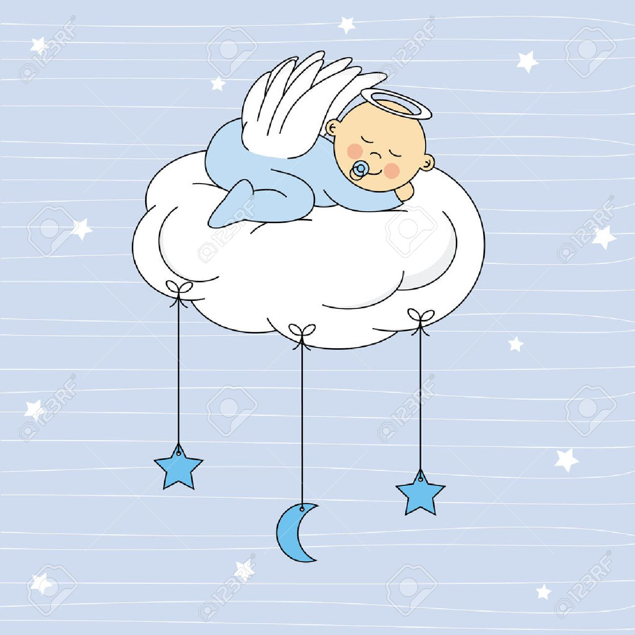 Baby Boy Sleeping On A Cloud Birthday Card Royalty Free Cliparts – Birthday Card for Boy