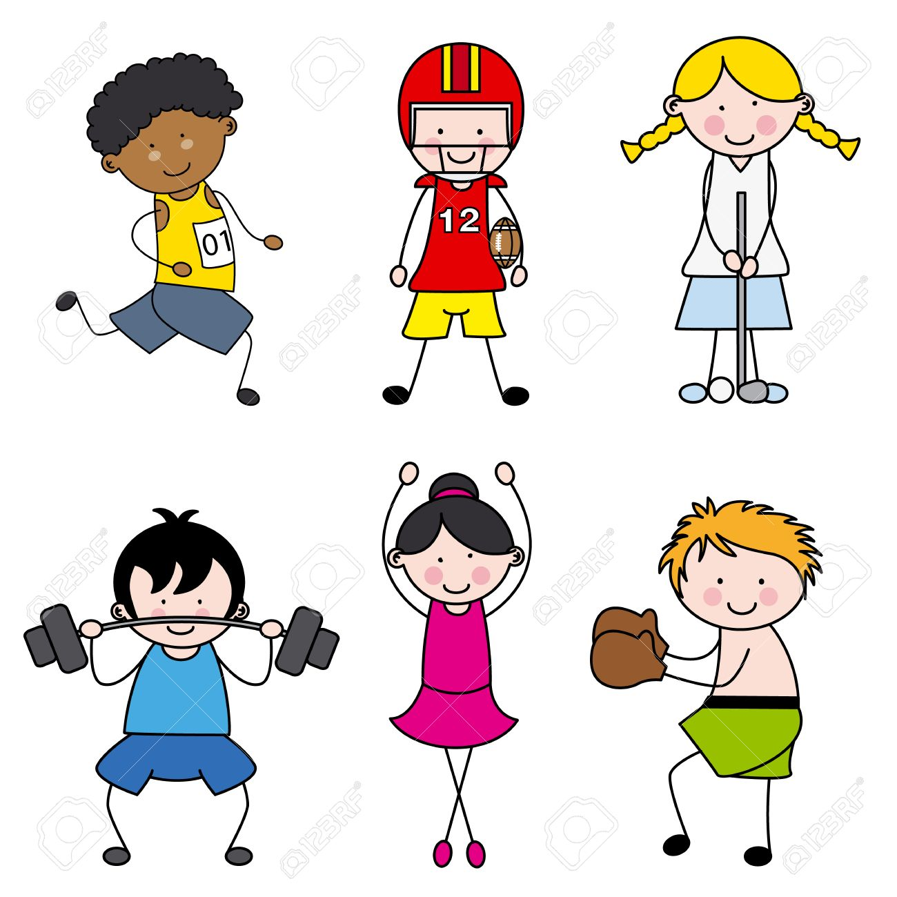 Set of vector cartoon sport icons Stock Vector - 23041489