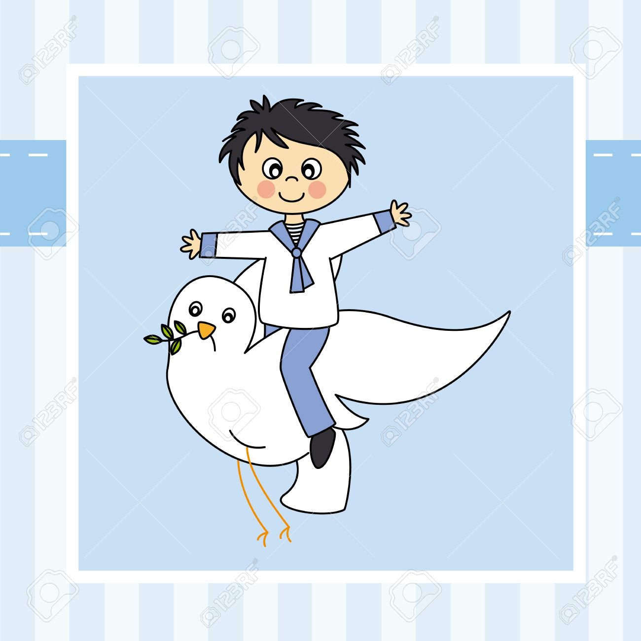 Boy first communion  Boy flying with a dove Stock Vector - 23041494