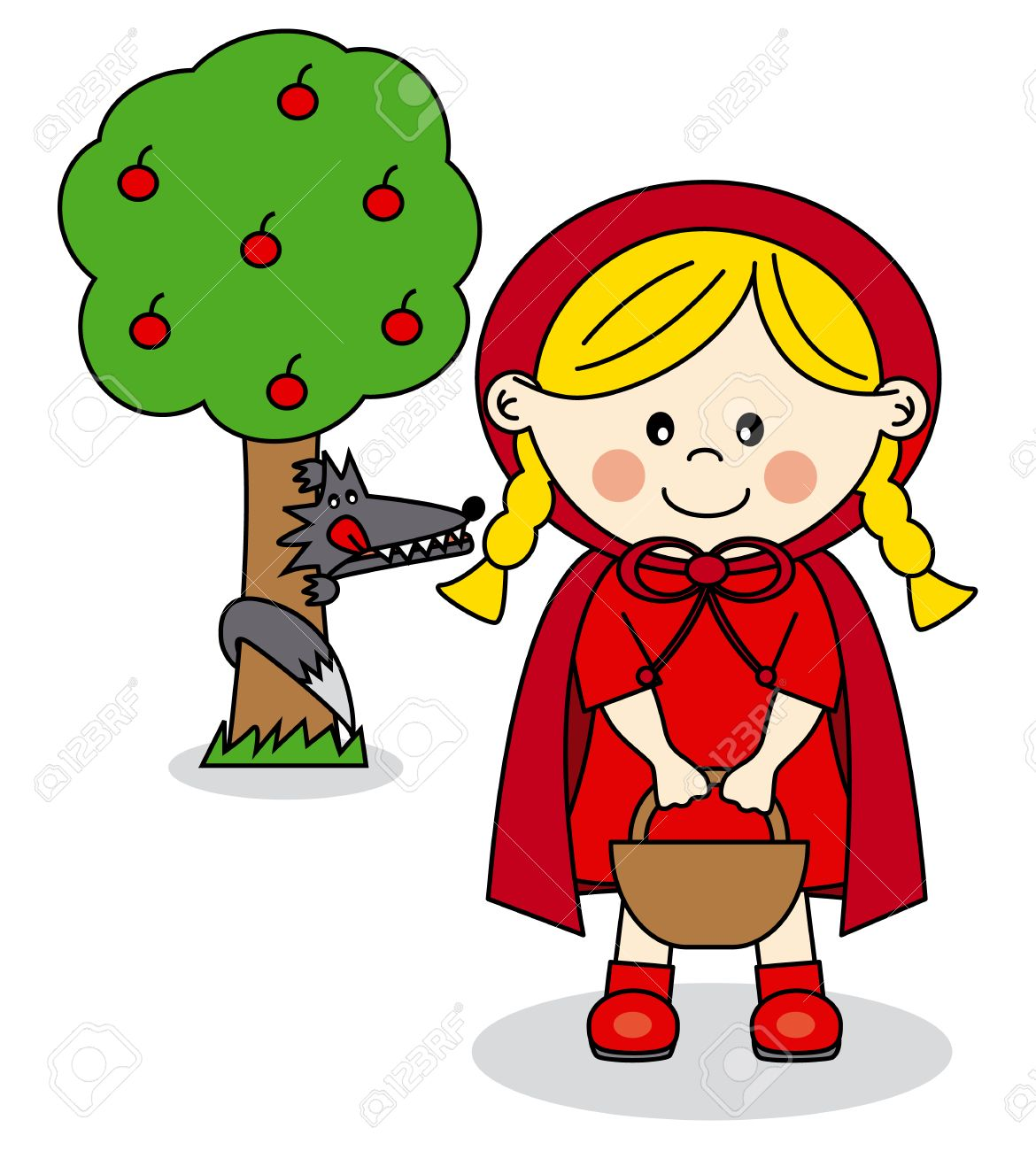 children story little red riding hood and the big bad wolf royalty rh 123rf com little red riding hood clipart pictures red riding hood characters clipart
