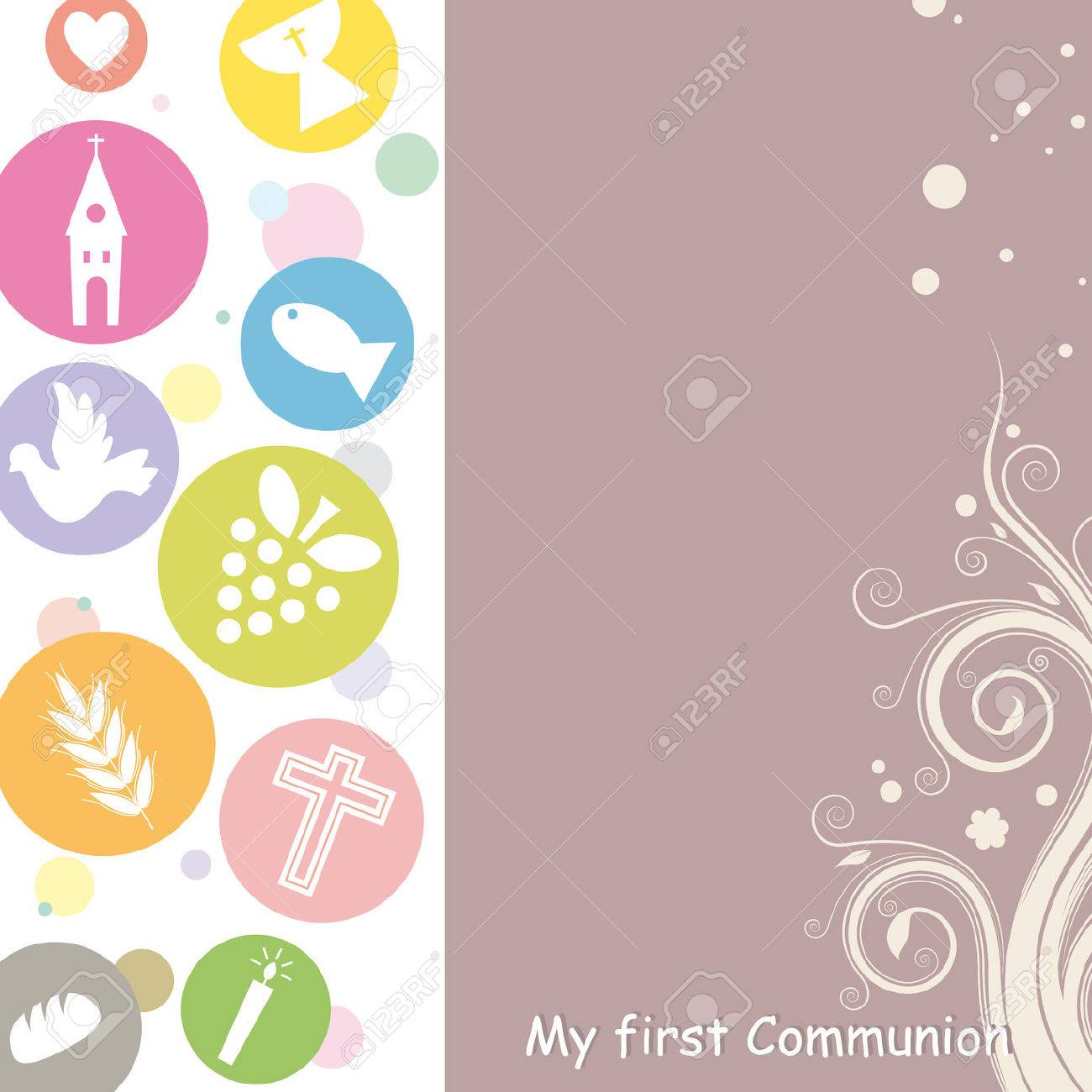 First Communion Invitation Card Stock Vector - 25121810