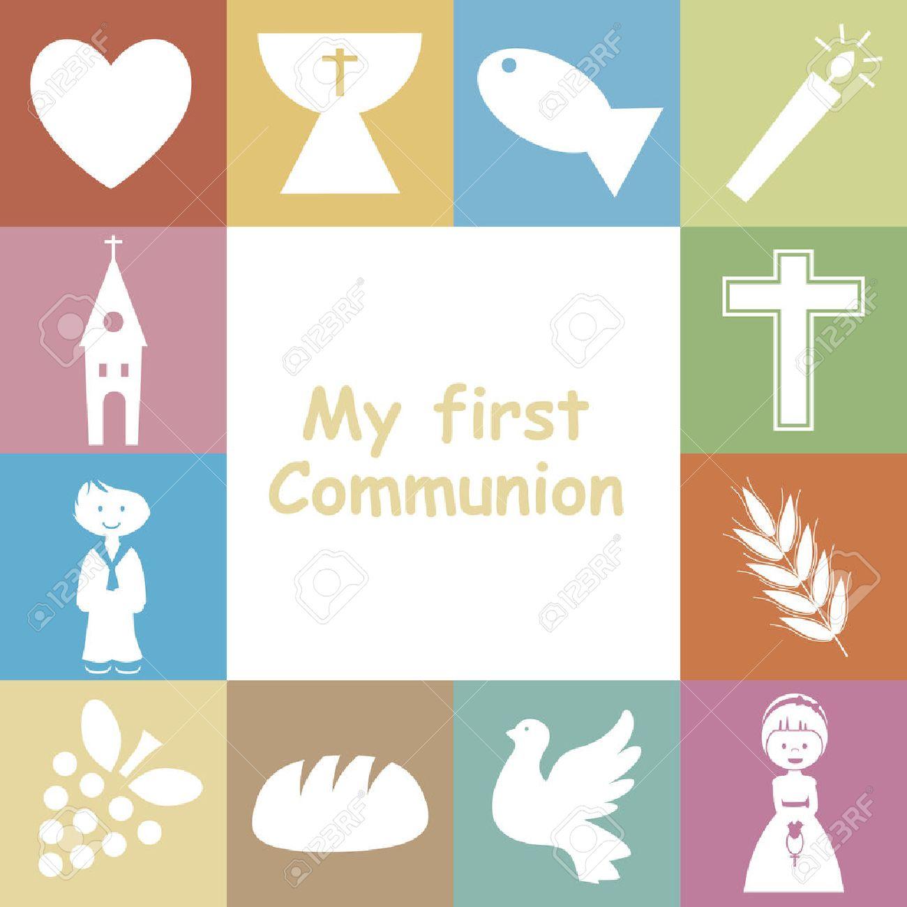 First Communion Invitation Card Stock Vector - 25470067