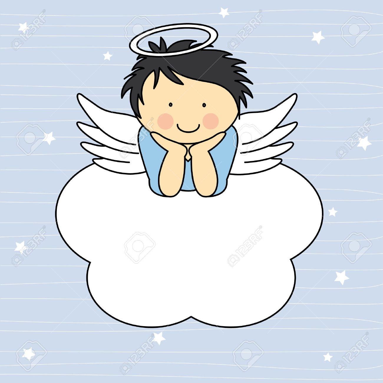 Angel wings on a cloud Greeting card - 26049289
