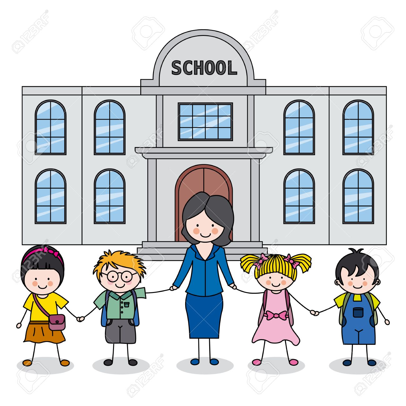 Children And Teacher In Front Of The School Royalty Free Cliparts Vectors And Stock Illustration Image 26035280