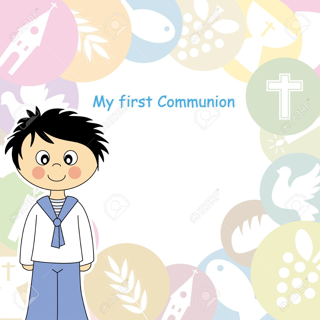 boy first communion invitation royalty free cliparts vectors and