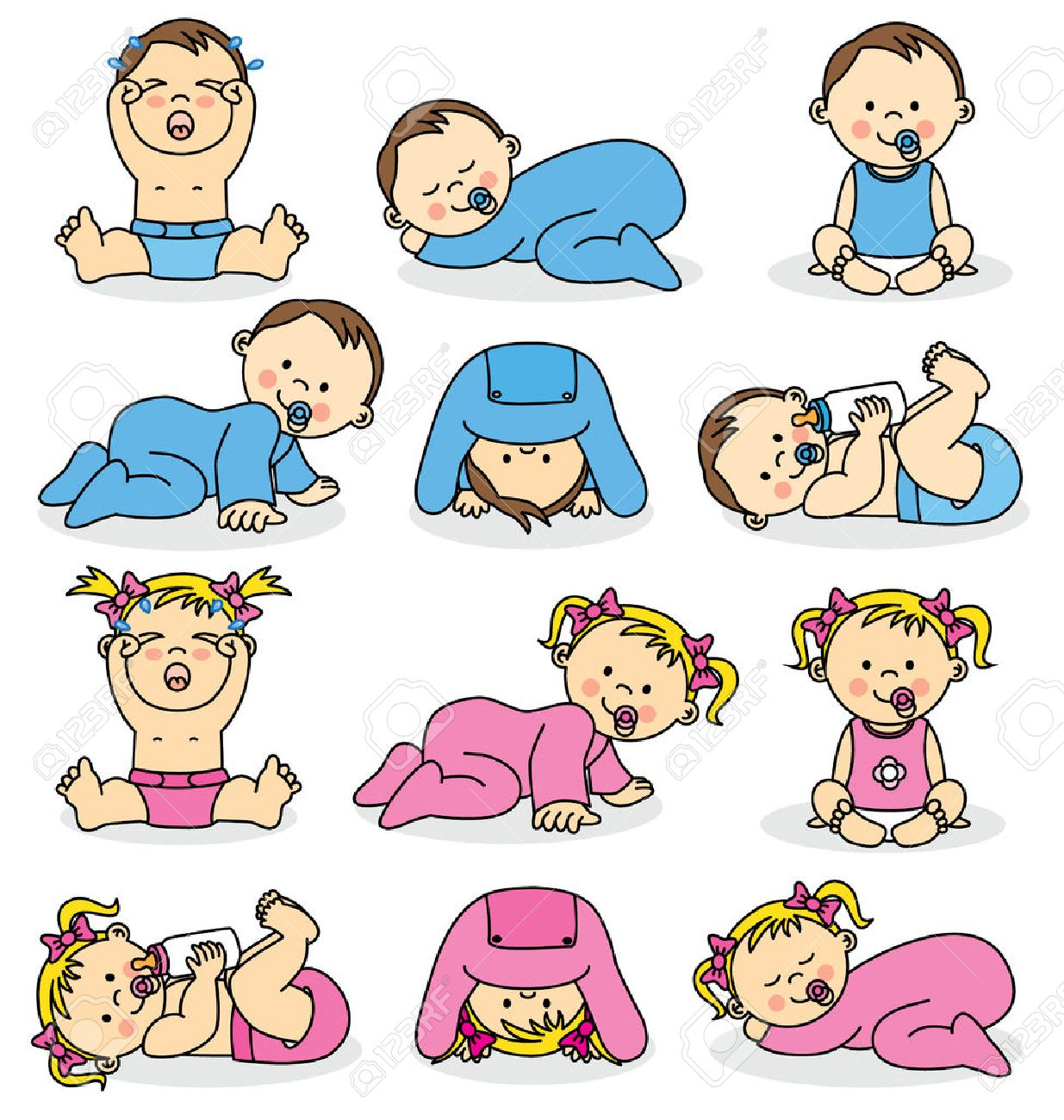 Vector illustration of baby boys and baby girls Stock Vector - 28071599