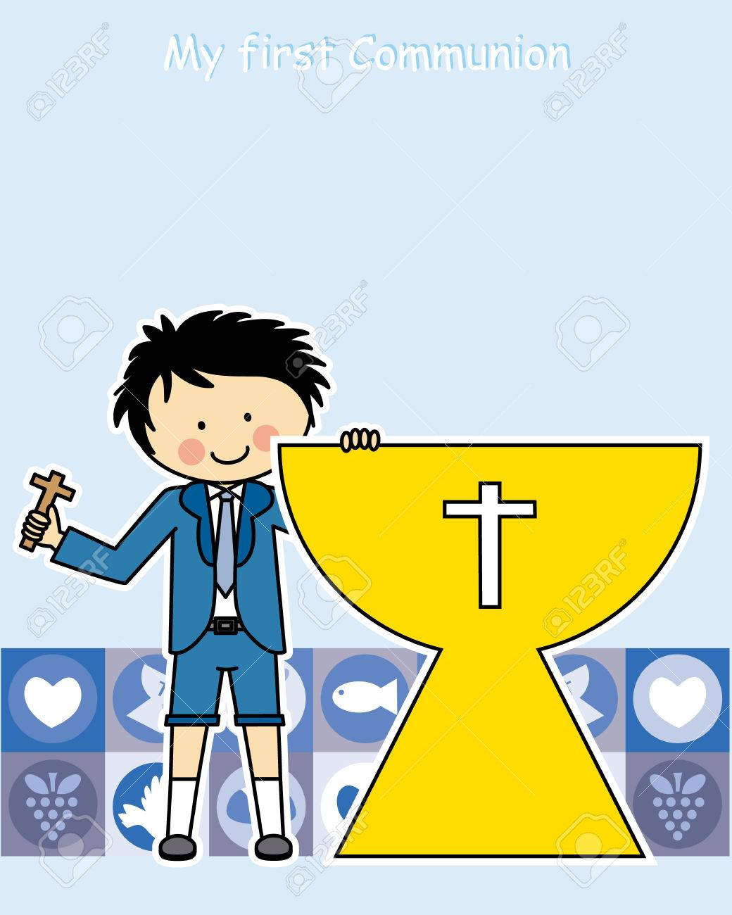 boy first communion invitation card royalty free cliparts vectors