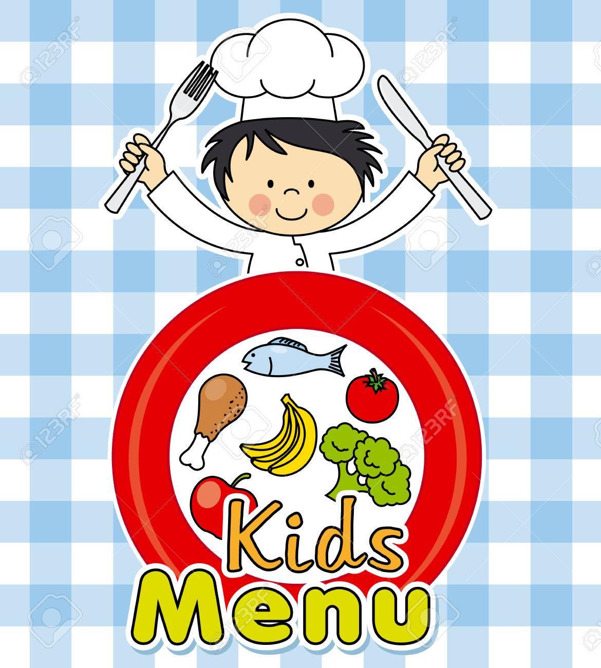 Kids Menu Healthy Food Boy Chef Royalty Free Cliparts Vectors