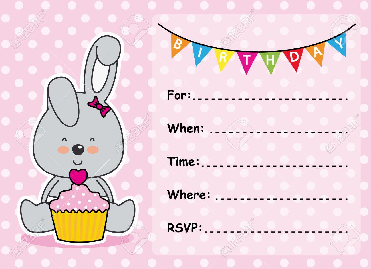 Carte D Invitation De Fille D Anniversaire Lapin Avec Un Petit