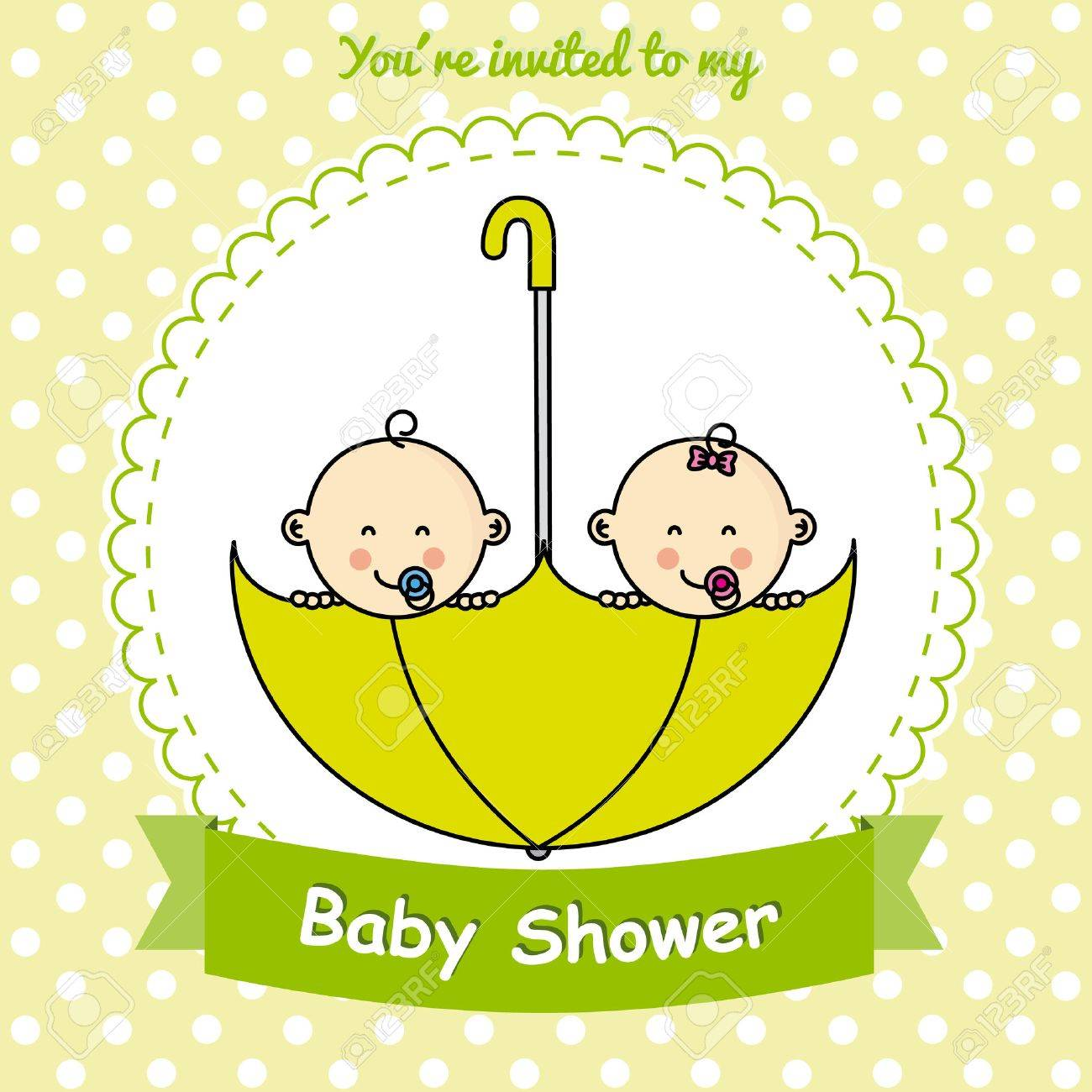 Twins Baby Shower. Twin Babies Inside An Umbrella Stock Vector   47617315